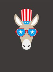 Portrait of donkey, wearing something, like Democratic Party US, cool style