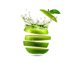 Slice green apple water splash, fruit
