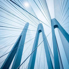 Zelfklevend Fotobehang Brug cable-stayed bridge closeup