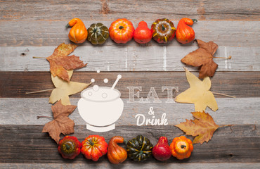 Autumn, pumpkins on wooden background. Halloween, Thanksgiving