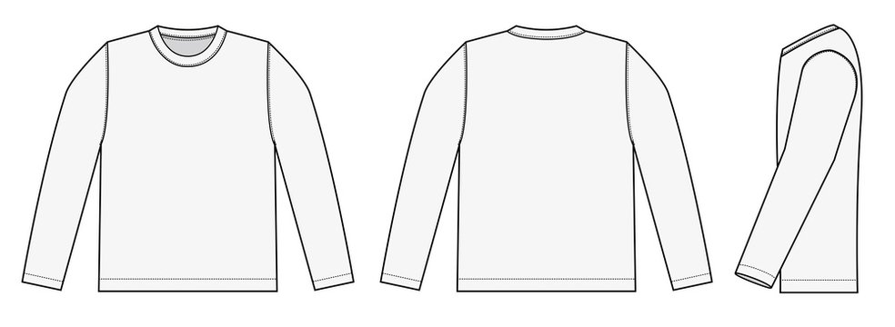 Longsleeve t-shirt illustration (white / side)