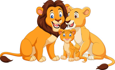 Cartoon lion family isolated on white background