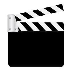 Vector Graphic Clapperboard. open blank black clapper board for the action scene or filming and shooting movie or cinema production included clipping path. Cinéma. Filmklappe geöffnet und leer.