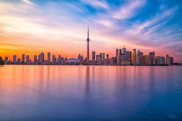 Foto op Plexiglas Toronto Toronto downtown skyline with sunset