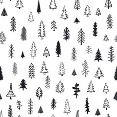 seamless pattern with different conifer pine fir doodle xmas trees