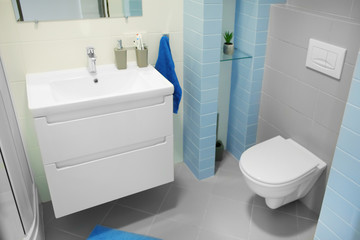 Interior of light modern bathroom with toilet and sink