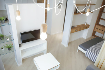 Interior of modern apartment with light living room