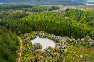 Aerial View of Hot Mud Pool, Rotorua, New Zealand