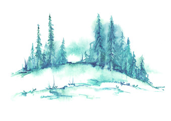 Watercolor landscape, picture. Picture of a pine forest, a blue silhouette of trees and bushes on a white isolated background.