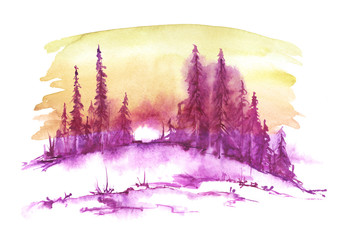 Watercolor landscape, picture. Picture of a pine forest, a blue silhouette of trees and bushes, against a background of pink, burgundy, red, yellow sky, frozen river.