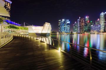 marina bay front at night, singapore