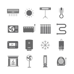 Heating and cooling icons isolated on white. Ventilation and conditioning vector illustration.
