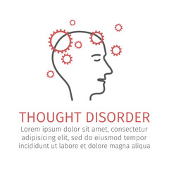 Thought disorder. Vector icon