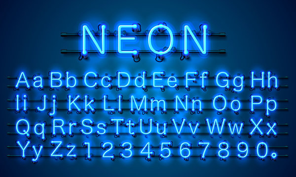 Neon city color blue font. English alphabet and numbers sign. Vector illustration