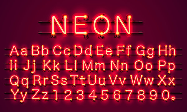 Neon city color red font. English alphabet and numbers sign. Vector illustration