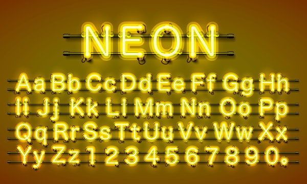 Neon city color yellow font. English alphabet and numbers sign. Vector illustration