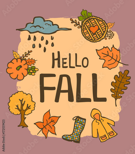 Hello Fall Handwritten Hand Drawn Cute Doodle Cartoon Greeting Card With  Pumpkin Raincoat Rubber Boot Rainy