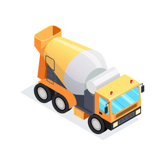 Isometric concrete mixer isolated on white background.