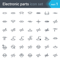 Complete vector set of electric and electronic circuit diagram symbols and elements - resistors