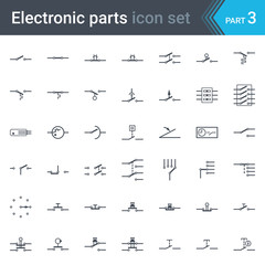 Complete vector set of electric and electronic circuit diagram symbols and elements - switches, pushbuttons and circuit switches