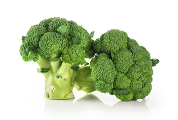 Broccoli isolated on white background close up