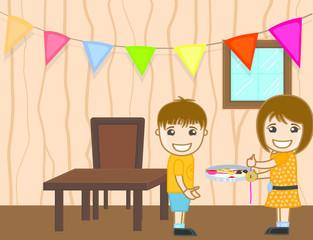 Cartoon Kids Celebrating Bhai Dooj