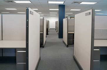 cubicles inside office building, place of work
