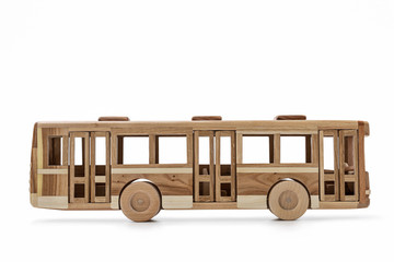 Wooden toy, modern bus.