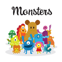 Group of Cute  Monsters Cartoon Characters