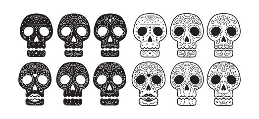 Day of the Dead Skull Set, Black Color Silhouette and Line