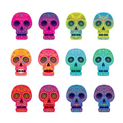 Day of the Dead Skull Set, Colorful and Gradient, Men and Women