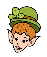 Comic Leprechaun Girl Character Face