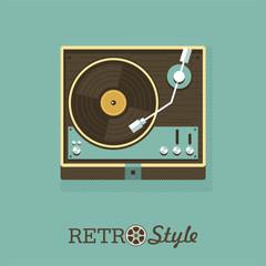 Player for vinyl records. Vector illustration. Logo, emblem.