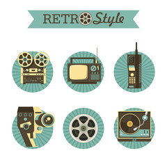 Reel to reel tape, retro TV, legacy wireless phones, film reel, vintage movie camera, gramophone. Set of vector icons, logos.