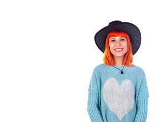 Redhead girl with cawboy hat