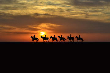 Horse rider silhouettes at sunset