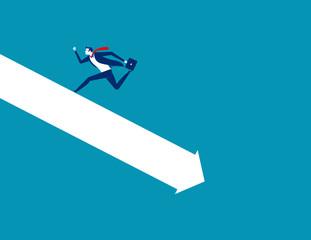 Crisis. Businessman run away form falling graph. Concept business vector illustration.