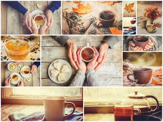 Collage autumn. Selective focus.