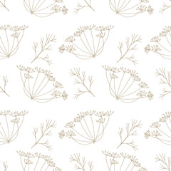 Dill flowers vector seamless pattern. Floral repeat with delicate hand drawn dill or fennel flowers and leaves.
