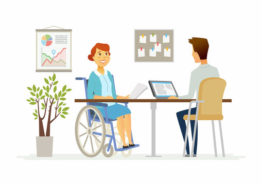 Disabled woman in the office - modern cartoon people characters illustration