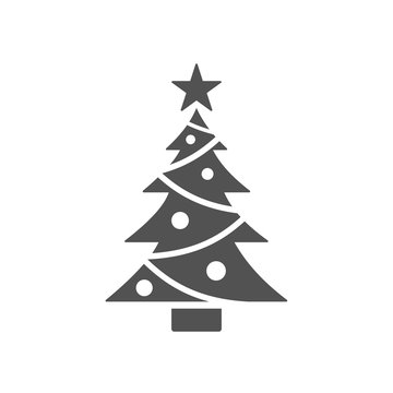 Isolated christmas tree icon with star