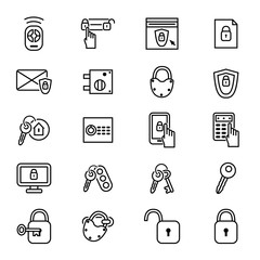 Keys and Locks Thin Line Icon Set. Vector