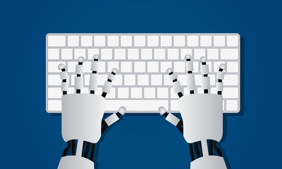 Hands of robot on computer keyboard. Artificial intelligence concept in flat design. Vector illustration