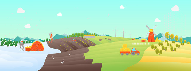 Cartoon Seasons Landscape Background. Vector