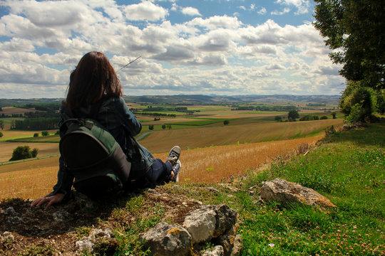 Paysage. Vue panoramique de la campagne. Charroux, Village de France, Puy de Dôme, Auvergne.