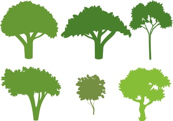 Set of different silhouettes of trees
