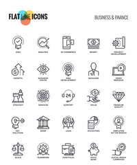 Flat line icons design - Business and Finance