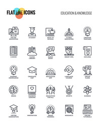 Flat line icons design-Education and Knowledge