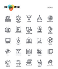 Flat line icons design- Graphic Design