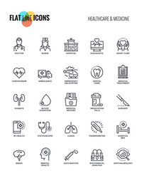 Flat line icons design-Healthcare and Medicine